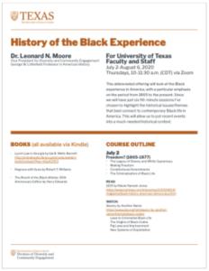 History of the Black Experience, syllabus screenshot